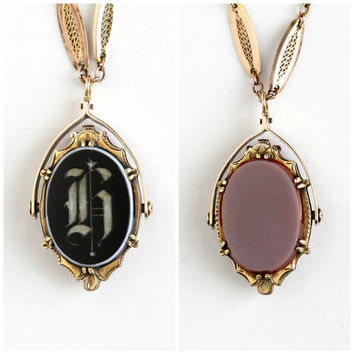 "Antique Victorian 14k Gold Double Sided Spinner Locket Necklace - Vintage Sardonyx & ""H"" Black White Onyx Two Sided Pendant Fine Jewelry"