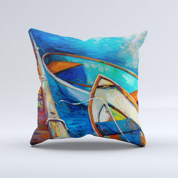 Colorful Pastel Docked Boats ink-Fuzed Decorative Throw Pillow