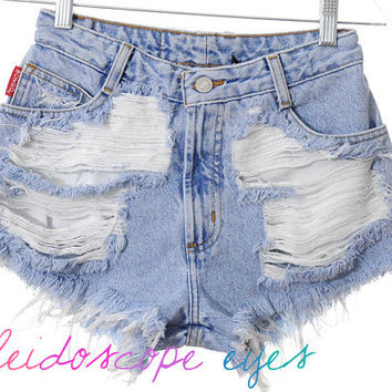 Vintage Bongo Trashed Destroyed Denim HIGH WAIST Cut Off Shorts XS