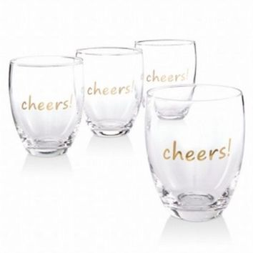 INC Concepts 4-Pc Stemless Gold Cheers! Graphic Wine Glass Set 16oz