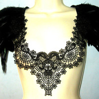 Steampunk collar black feather and lace burlesque statement collar corset top with epaulettes epaulets ready to ship