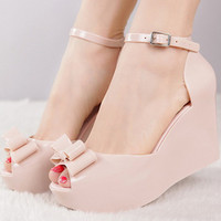 Aliexpress.com : Buy Wedges female sandals 2014 melissa jelly shoes bow platform open toe high heeled shoes from Reliable shoe station free shipping suppliers on Best-Loved Store.