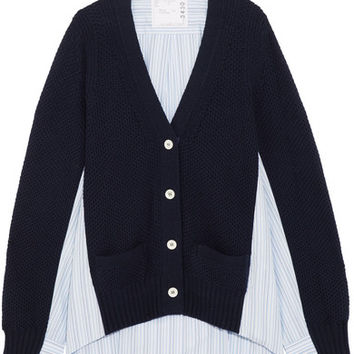 Sacai - Waffle-knit wool and cotton-poplin cardigan