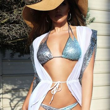 White-Silver Patchwork Sequin Lace-up Cap Sleeve Side Slit Beach Bikini Smock