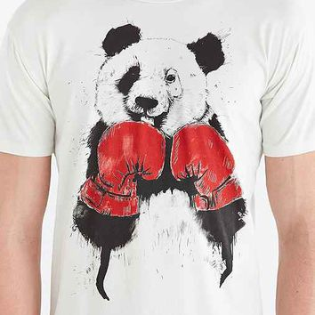 Threadless Boxing Panda Tee- White