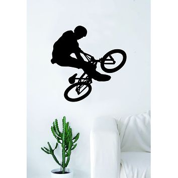BMX Biker V1 Silhouette Wall Decal Sticker Bedroom Living Room Decor Art Vinyl Sports Bicycle Bike Cycle Teen Kids