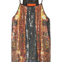 Clover Canyon Dubai In The Sky printed sequined top – 50% at THE OUTNET.COM
