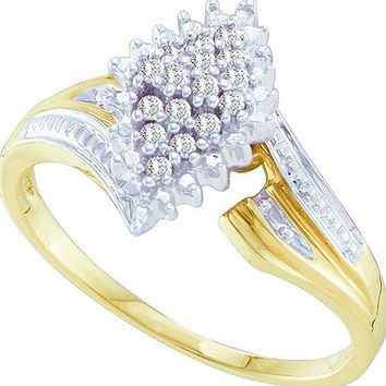 Diamond Cluster Ring in 10k Gold 0.12 ctw