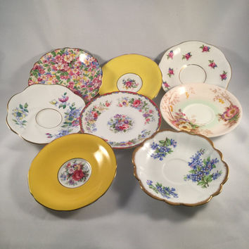 Lot Of Eight Vintage Bone China Saucers, Wall Plate Collage, Shabby Chic, Cottage Decor, Mismatched Table Setting, Tea Party