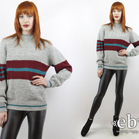 Vintage 70s Grey Striped Sweater S M Gray Sweater Grey Sweater Striped Sweater Grey Jumper Gray Jumper Striped Jumper Rugby Sweater