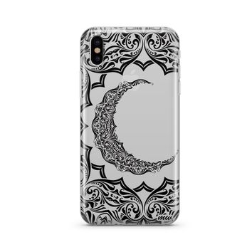 Crescent Moon Henna - Clear TPU Case Cover Phone Case