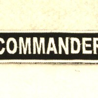 COMMANDER White on Black Small Patch for Biker Vest SB704