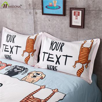 HAKOONA Cartoon Queen Size 48x74cm One Pair Animal Printed Pillow Cover For Pillow 2 Pieces Kids Bedroom Bed