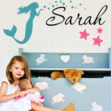 Mermaid And Starfish Name Wall Decal