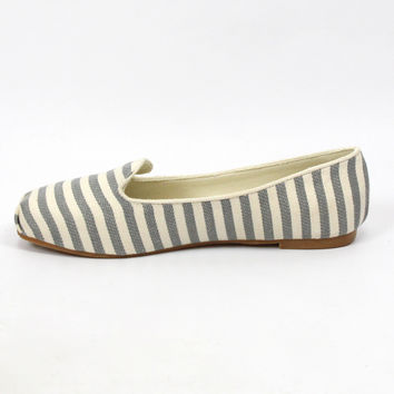 """Gabby"" Striped Tuxedo Loafers - Gray/White"