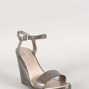Bamboo Glitter Jelly Buckle Open Toe Wedge