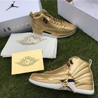 Air Jordan 12 Retro Pinnacle Gold Kawhi Leonard AJ12 Sneakers - Best Deal Online