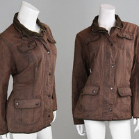 Vintage BARBOUR Womens L1094 Wax Jacket Brown Utility Jacket Hunting Jacket Cotton Collar Made England Shooting Women Large UK 18 Tartan
