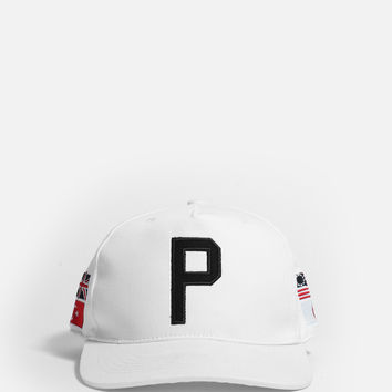 Worldwide Four-Flag Snapback in White