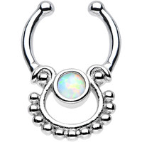 White Opal Egyptian Goddess Non-Pierced Clip On Septum Ring | Body Candy Body Jewelry
