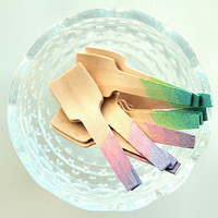 Disposable Ombre Wooden Paddles - Radiant Gradient Ice Cream Scoops