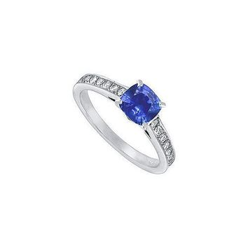 Blue Sapphire and Diamond Engagement Ring : 14K White Gold – 1.25 CT TGW