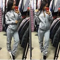 CK Calvin Klein Women Fashion Long Sleeve zipper Jacket Pants Two-Piece