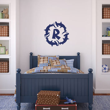 Sharks Circling Monogram Wall Decal - Shark Wall Decals - Monogram Decals - Kids Room Decals  - Beach Wall Decor - Kids Room Decor 22382