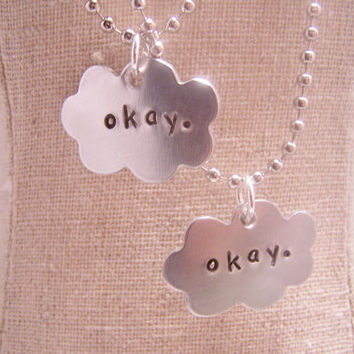 Set of Two Okay Necklaces. Clouds. Friendship. The Fault in Our stars.