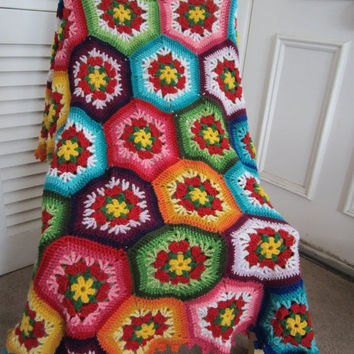 ON SALE - 10% OFF Granny Square Crochet Blanket...Baby Crochet Blanket...Colorful Knitting Patchwork Afghan...