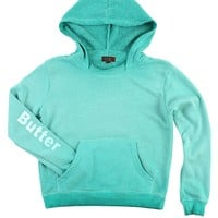 Butter Kids Oil Wash Rainbow Biting Lips Pullover Hoody - Turquoise