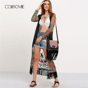 Transparent Embroidered Fringe Long Kimono Summer Tassel Long Sleeve Floral Kimono New Vacation Women Clothes