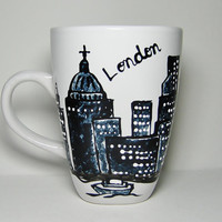 Long Distance, London, England, Skyline, State Mugs Cityscape, Skydiver, Personalized Mug, Hand Painted