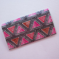 Checkbook Cover / Holder / Case - Triangles - pink orange black