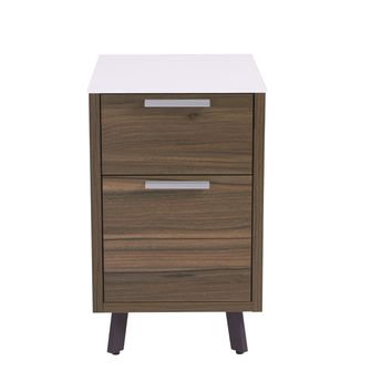 Hart 2 Drawer File Cabinet in White with Walnut Frame