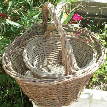 Pair of Vintage French Cottage Garden Baskets wicker trugs potager harvest carry