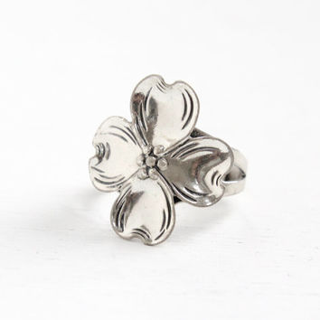 Vintage Sterling Silver Dogwood Flower Ring - Retro Hallmarked Beau Adjustable Floral Statement Jewelry, Four Petal Bloom