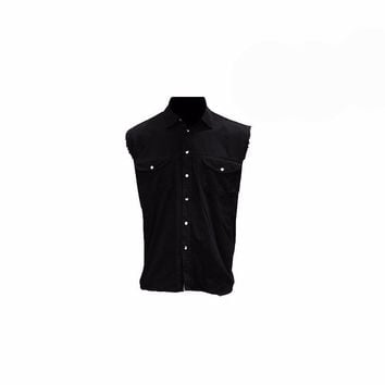 Black Denim Sleeveless Biker Shirt