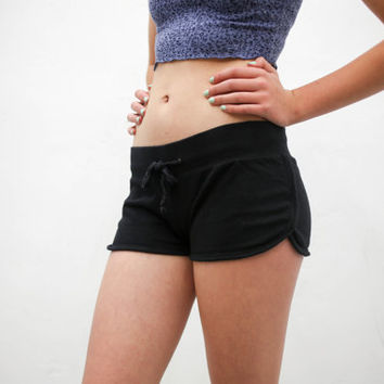vtg 90's black bootyshorts, short shorts, active booty 1990s vintage urban outfitters american apparel tumblr fashion vaporwave aesthetic