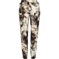 River Island Womens Grey smudge print joggers