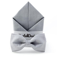 Wedding Set Bow Tie & Pocket Handkerchief Ash Gray