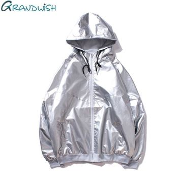 Grandwish Mens Windbreaker Jackets Hip Pop B-Boy Silver Glossy Hooded Jacket for Men Streetwear Bomber Jacket Male Female,DA739