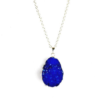 Indigo Silver Plated Druzy Necklace - Crystal & Druzy Jewellery, Druzy Necklace, Crystal, Blue, Indigo, Gemstone, Sparkly, Boho, Festival