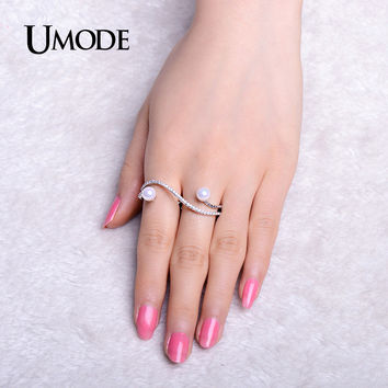 UMODE Elegant Simulated Pearls Micro Cubic Zirconia Pave Two Finger Rings White Gold Color Vintage for Women Anel UR0314