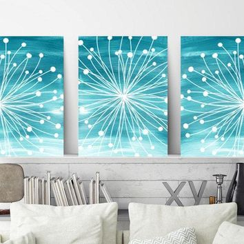 DANDELION WALL ART, Teal Bedroom Wall Art, Coastal Beach Art, Watercolor Canvas or Prints, Teal Bathroom Decor, Dandelion Pictures, Set of 3