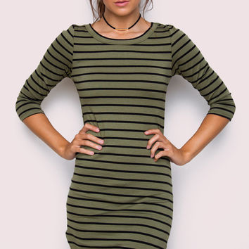 Sandy Basic Dress - Olive Striped