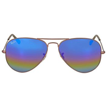 Ray Ban Aviator Blue Rainbow Flash Mens Sunglasses RB3025 9019C2 58