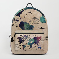 Oceans Life World Map #map #worldmap Backpacks by jbjart