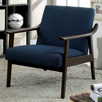 Deidre collection mid century modern style navy fabric and espresso finish wood frame accent chair