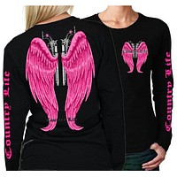 Country Life Outfitters Wings Guns Vintage Black & Pink Long Sleeve Bright T Shirt